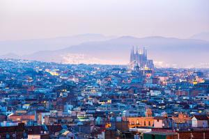Barcelona Cityscape at Dusk Spain by vichie81