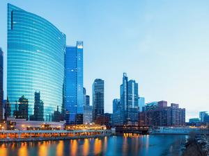 City of Chicago Downtown and River with Bridges at Dusk. by vichie81