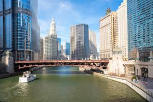 City of Chicago Downtown and River with Bridges by vichie81