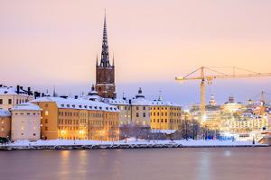 Cityscape of Gamla Stan Old Town Stockholm City at Dusk Sweden by vichie81