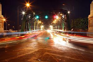 Light Trail at Rama 1 Steel Bridge at Bangkok Harbor by vichie81