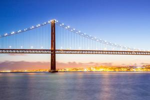 Lisbon Cityscape and the 25 De Abril Bridge, Portugal by vichie81