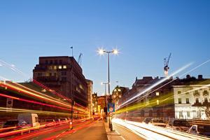 London Cityscape with Road Light Trail at Dusk Using for City Lifestyle Transportation by vichie81