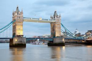London River Thames and Tower Bridge International Landmark of England United Kingdom at Dusk by vichie81