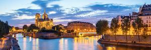 Notre Dame Cathedral with Paris Cityscape  Panorama at Dusk, France by vichie81