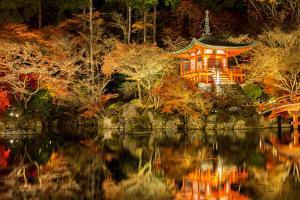 Panorama Daigoji Temple Shingon Buddhist Temple at Night in Daigo Kyoto Japan by vichie81