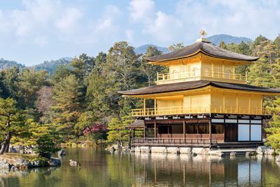 Panorama Landscape of Golden Pavilion Kinkakuji Temple in Kyoto Japan