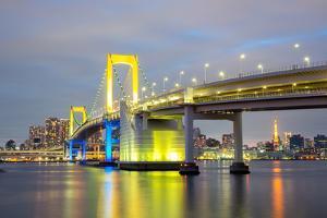 Rainbow Bridge from Odaiba Tokyo at Dusk in Japan by vichie81