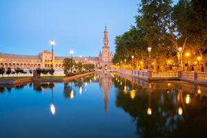 Spanish Square Espana Plaza in Sevilla Spain at Dusk by vichie81