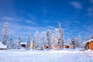 Winter Landscape with Cabin Hut at Night in Kiruna Sweden at Night with Star Trail by vichie81