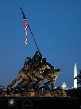 Iwo Jima Memorial at Dusk with the Capitol and Washington Monument by Vickie Lewis
