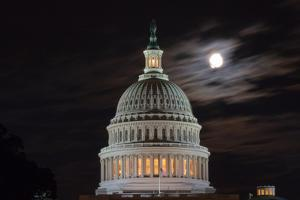 The Full Moon Hangs over the United States Capitol by Vickie Lewis