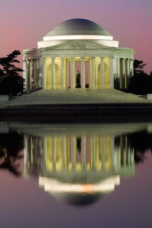 The Jefferson Memorial Sunrise Reflected in the Tidal Basin at Dawn