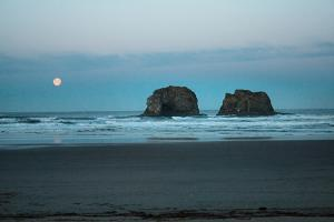 The Moon Rises over Oregon's Twin Rocks by Vickie Lewis