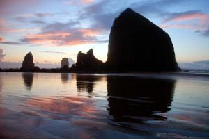 The Setting Sun Silhouettes Coastal Sea Stacks by Vickie Lewis