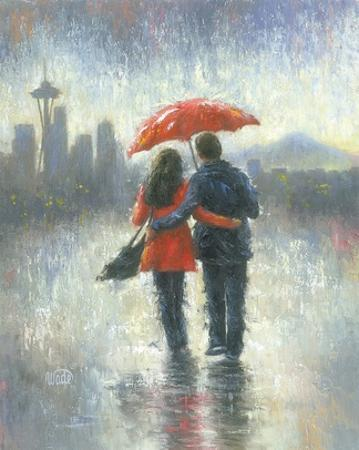 Seattle Lovers in the Rain by Vickie Wade