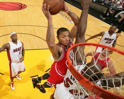 Chicago Bulls v Miami Heat - Game Four, Miami, FL - MAY 24: Derrick Rose and Joel Anthony