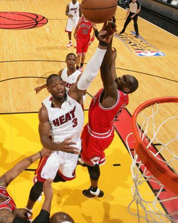 Chicago Bulls v Miami Heat - Game Four, Miami, FL - MAY 24: Dwyane Wade and Luol Deng