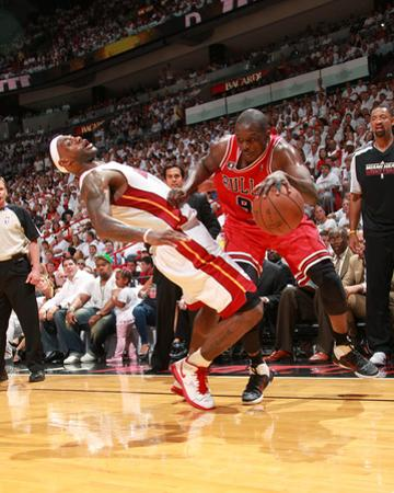 Chicago Bulls v Miami Heat - Game Three, Miami, FL - MAY 22: Luol Deng, LeBron James