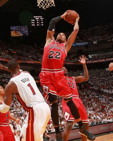Chicago Bulls v Miami Heat - Game Three, Miami, FL - MAY 22: Taj Gibson and Chris Bosh