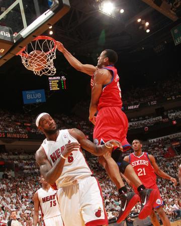 Philadelphia 76ers v Miami Heat - Game Five,  MIAMI - APRIL 27: Andre Iguodala and LeBron James
