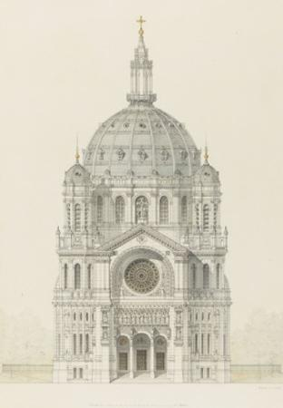 Eglise Saint-Augustin (Paris): Main Facade Elevation by Victor Baltard