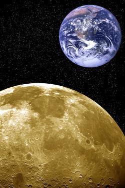 Moon And Earth, Artwork by Victor De Schwanberg