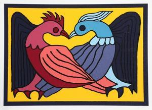 Two Kissing Doves by Victor Delfin