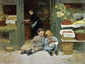 Children Have Afternoon Snack at Grocery Store by Victor Gabriel Gilbert