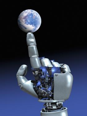 Earth Spinning on Robotic Finger, Artwork by Victor Habbick