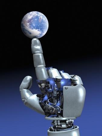 Earth Spinning on Robotic Finger, Artwork