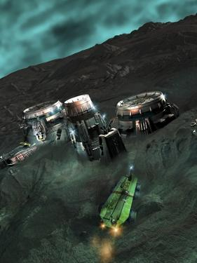 Space Mining Colony, Artwork by Victor Habbick