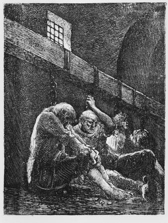 Jean Valjean in Prison, Illustration from 'Les Miserables' by Victor Hugo
