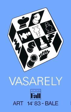 Expo Art Basel 83 - Echecs fond bleu by Victor Vasarely