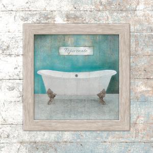 Framed Aqua Bath by Victoria Brown