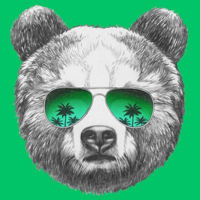 Original Drawing of Bear with Mirror Sunglasses. Isolated on Colored Background by victoria_novak