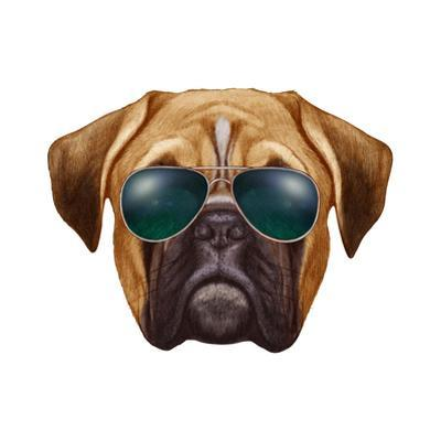 Original Drawing of Boxer Dog with Sunglasses. Isolated on White Background. by victoria_novak