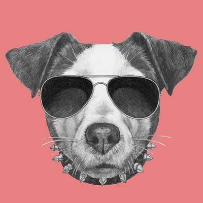 Original Drawing of Jack Russell with Collar and Sunglasses. Isolated on Colored Background by victoria_novak