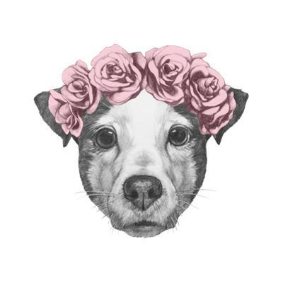 Original Drawing of Jack Russell with Floral Head Wreath. Isolated on White Background. by victoria_novak
