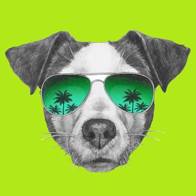Original Drawing of Jack Russell with Mirror Sunglasses. Isolated on White Background by victoria_novak
