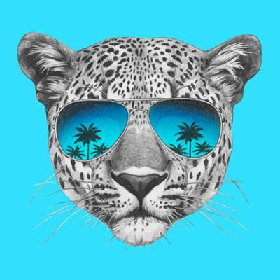 Original Drawing of Leopard with Mirror Sunglasses. Isolated on Colored Background by victoria_novak