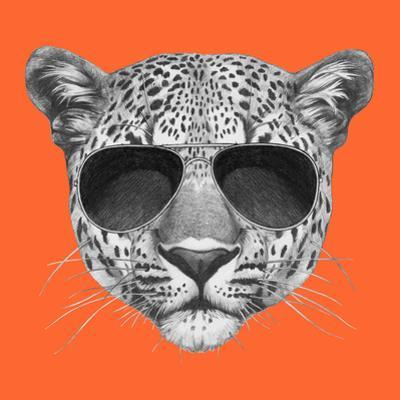 Original Drawing of Leopard with Sunglasses. Isolated on Colored Background by victoria_novak