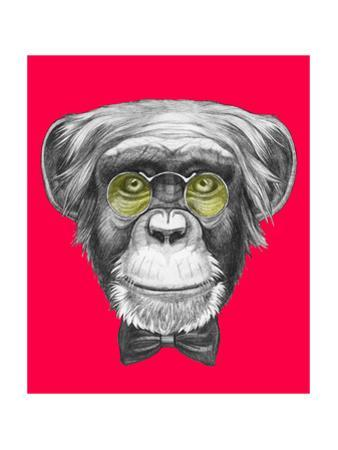 Original Drawing of Monkey with Glasses and Bow Tie. Isolated on Colored Background. by victoria_novak