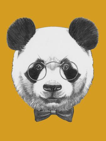 Original Drawing of Panda with Glasses and Bow Tie. Isolated by victoria_novak