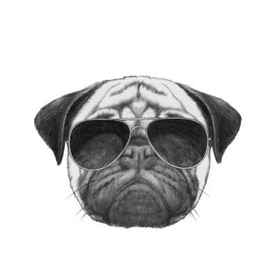 Original Drawing of Pug Dog with Sunglasses. Isolated on White Background by victoria_novak