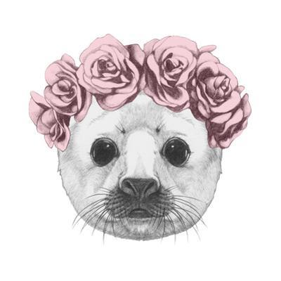Portrait of Baby Fur Seal with Floral Head Wreath. Hand Drawn Illustration. by victoria_novak