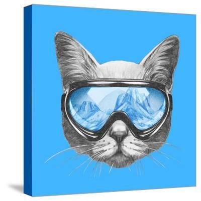 Portrait of Cat with Ski Goggles. Hand Drawn Illustration. by victoria_novak