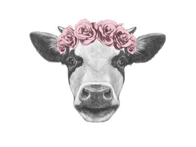 Portrait of Cow with Floral Head Wreath. Hand Drawn Illustration. by victoria_novak
