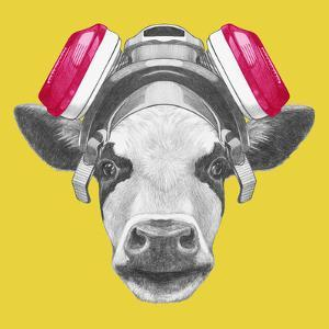 Portrait of Cow with Gas Mask. Hand Drawn Illustration. by victoria_novak