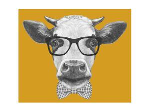 Portrait of Cow with Glasses and Bow Tie. Hand Drawn Illustration. by victoria_novak